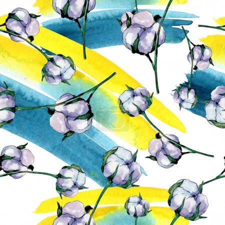 Photo for Cotton floral botanical flower. Wild spring leaf wildflower. Watercolor illustration set. Watercolour drawing fashion aquarelle. Seamless background pattern. Fabric wallpaper print texture. - Royalty Free Image