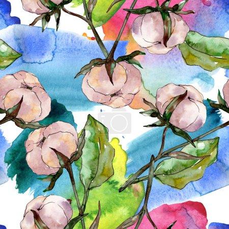 Photo pour Fleur botanique florale en coton. Feuille de printemps sauvage fleur sauvage. Ensemble d'illustration aquarelle. Aquarelle dessin mode aquarelle. Modèle de fond sans couture. Texture d'impression papier peint tissu . - image libre de droit