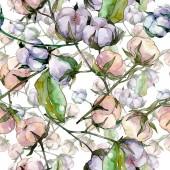 """Постер, картина, фотообои """"Хлопок цветочный ботанический цветок. Дикий весенний лист полевых цветов. Набор иллюстраций акварели. Акварель рисунок моды акварели. Бесшовный фоновый шаблон. Ткань обои печати текстуры."""""""