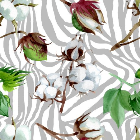 Photo for White cotton floral botanical flower. Wild spring leaf wildflower. Watercolor illustration set. Watercolour drawing fashion aquarelle. Seamless background pattern. Fabric wallpaper print texture. - Royalty Free Image