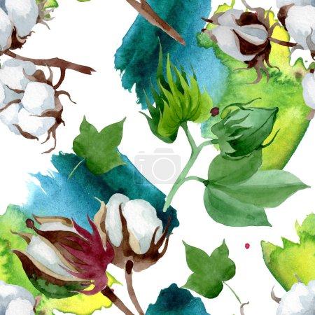 Foto de Flor botánica floral de algodón blanco. Flor silvestre de la hoja de primavera wildflower. Conjunto de ilustraciones de acuarela. Acuarela dibujando moda acuarela. Patrón de fondo sin costuras. Textura de impresión de fondo de pantalla de tela. - Imagen libre de derechos