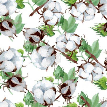 Photo pour Fleur botanique florale de coton blanc. Fleur sauvage sauvage de feuille de source. Ensemble d'illustration d'aquarelle. Aquarelle de dessin à l'aquarelle. Modèle de fond sans couture. Texture d'impression de papier peint de tissu. - image libre de droit