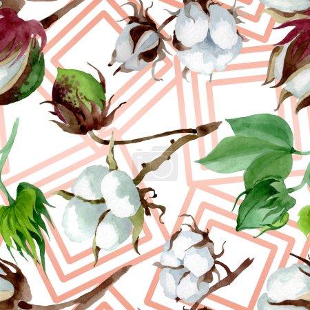 Photo pour Fleur botanique florale en coton blanc. Feuille de printemps sauvage fleur sauvage. Ensemble d'illustration aquarelle. Aquarelle dessin mode aquarelle. Modèle de fond sans couture. Texture d'impression papier peint tissu . - image libre de droit