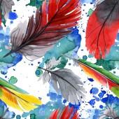 """Постер, картина, фотообои """"Красочное птичье перо из крыла изолировано. Акварель рисунок моды акварели. Ткань обои печати текстуры."""""""