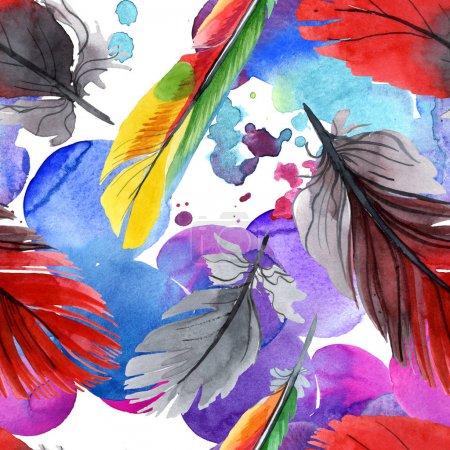 Foto de Pluma colorida de pájaro de ala aislada. Conjunto de ilustración de fondo acuarela. Acuarela dibujo moda acuarela aislado. Patrón de fondo sin costuras. Textura de impresión de papel pintado de tela . - Imagen libre de derechos