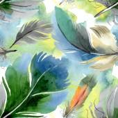"""Постер, картина, фотообои """"Красочное птичье перо из крыла изолировано. Набор фоновых иллюстраций акварели. Бесшовный фоновый шаблон."""""""