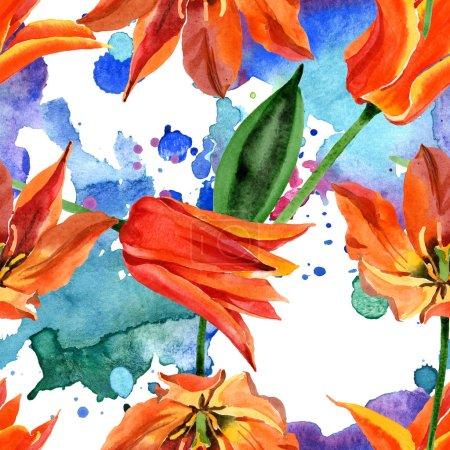 Photo pour Fleur botanique florale de tulipe orange. Feuille de printemps sauvage fleur sauvage. Ensemble d'illustration aquarelle. Aquarelle dessin mode aquarelle. Modèle de fond sans couture. Texture d'impression papier peint tissu . - image libre de droit
