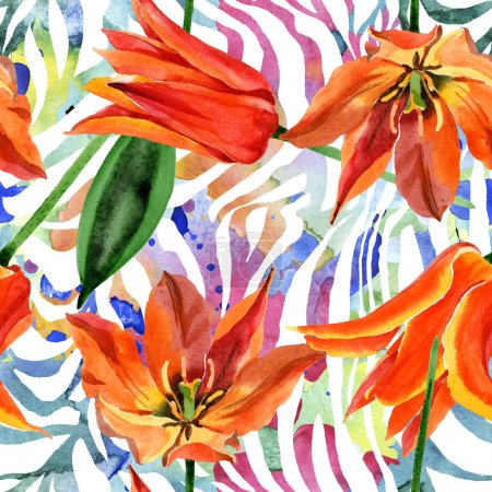 Photo for Orange tulip floral botanical flower. Wild spring leaf wildflower. Watercolor illustration set. Watercolour drawing fashion aquarelle. Seamless background pattern. Fabric wallpaper print texture. - Royalty Free Image