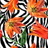 """Постер, картина, фотообои """"Оранжевый тюльпан цветочные ботанические цветы. Набор фоновых иллюстраций акварели. Бесшовный фоновый шаблон."""""""
