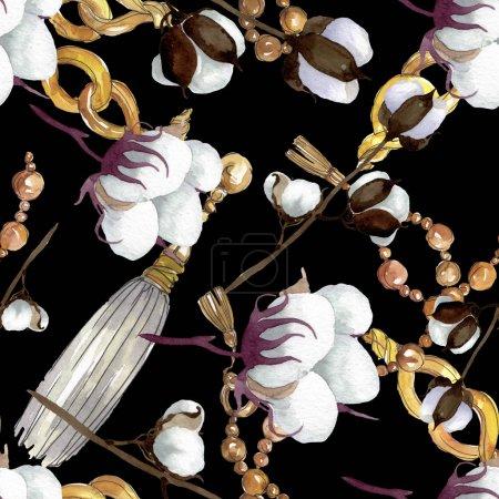 Foto de Flores botánicas florales de algodón blanco. Flor silvestre de la hoja de primavera wildflower. Conjunto de ilustraciones de acuarela. Acuarela dibujando moda acuarela. Patrón de fondo sin costuras. Textura de impresión de fondo de pantalla de tela. - Imagen libre de derechos