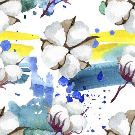 Photo pour Fleurs botaniques florales de coton blanc. Fleur sauvage sauvage de feuille de source. Ensemble d'illustration d'aquarelle. Aquarelle de dessin à l'aquarelle. Modèle de fond sans couture. Texture d'impression de papier peint de tissu. - image libre de droit