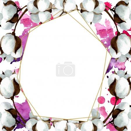 Foto de Flores botánicas florales de algodón blanco. Hoja de primavera silvestre wildflower aislado. Conjunto de ilustraciones de fondo de acuarela. Acuarela dibujando moda acuarela. Marco borde cristal ornamento cuadrado. - Imagen libre de derechos