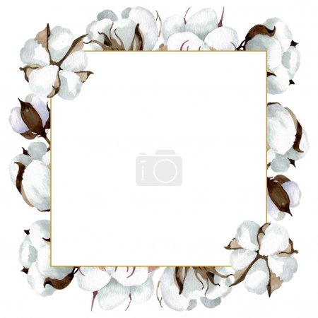 Photo for White cotton floral botanical flowers. Wild spring leaf wildflower isolated. Watercolor background illustration set. Watercolour drawing fashion aquarelle isolated. Frame border ornament square. - Royalty Free Image