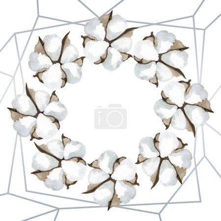 Photo pour Fleurs botaniques florales de coton blanc. Fleur sauvage de neige sauvage de feuille de source d'isolement. Ensemble d'illustration de fond d'aquarelle. Aquarelle de dessin à l'aquarelle. Carré d'ornement de cristal de bordure de cadre. - image libre de droit