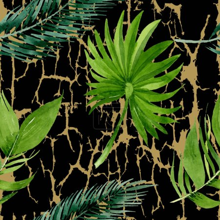 Photo for Exotic hawaiian summer. Palm beach tree leaves jungle botanical. Watercolor illustration set. Watercolour drawing fashion aquarelle. Seamless background pattern. Fabric wallpaper print texture. - Royalty Free Image