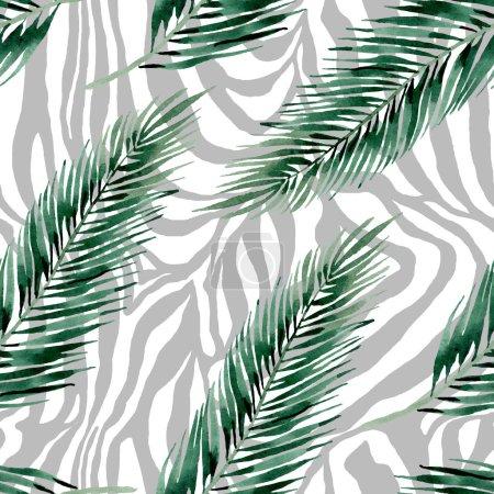 Foto de Verano hawaiano exótico. Palmera deja la selva botánica. Juego de ilustración en acuarela. Acuarela dibujo moda aquarelle. Patrón de fondo sin costuras. Textura de impresión de papel pintado de tela . - Imagen libre de derechos