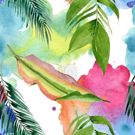 Photo pour L'été hawaïen exotique. L'arbre de plage de palmier laisse la jungle botanique. Ensemble d'illustration d'aquarelle. Aquarelle de dessin à l'aquarelle. Modèle de fond sans couture. Texture d'impression de papier peint de tissu. - image libre de droit