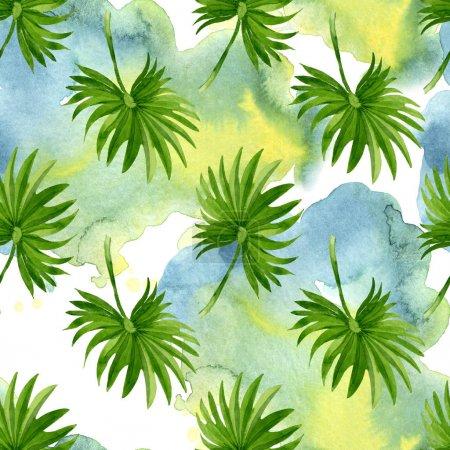 Photo pour Été hawaïen exotique. Palm plage arbre feuilles jungle botanique. Ensemble d'illustration aquarelle. Aquarelle dessin mode aquarelle. Modèle de fond sans couture. Texture d'impression papier peint tissu . - image libre de droit