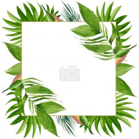Foto de Exótico verano hawaiano tropical. Palmera árbol de playa deja botánico selva. Conjunto de ilustraciones de fondo de acuarela. Acuarela dibujando moda acuarela aislada. Marco borde ornamento cuadrado. - Imagen libre de derechos