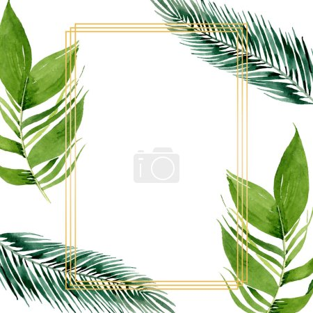 Photo for Exotic tropical hawaiian summer. Palm beach tree leaves jungle botanical. Watercolor background illustration set. Watercolour drawing fashion aquarelle isolated. Frame border ornament square. - Royalty Free Image