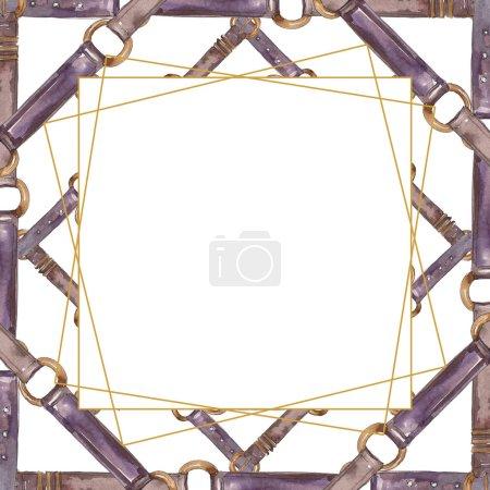 Photo pour Illustration glamour de modèle de croquis de ceinture en cuir dans un fond de modèle d'aquarelle. Ensemble d'accessoires pour vêtements. Aquarelle de dessin à l'aquarelle. Carré d'ornement cristallin de bordure de cadre. - image libre de droit