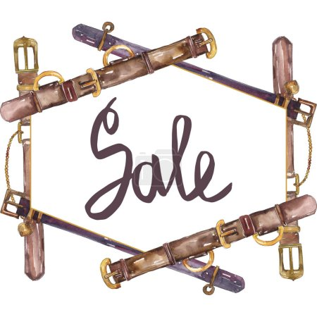 Photo for Leather belt sketch fashion glamour illustration in a watercolor style background. Clothes accessories set. Watercolour drawing fashion aquarelle. Frame border ornament square. - Royalty Free Image