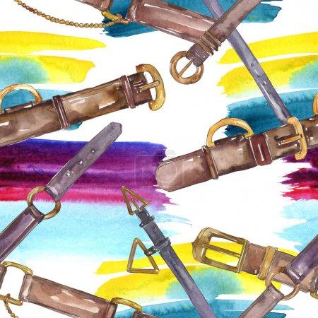 Foto de Cinturón de cuero boceto moda glamour ilustración en un estilo de acuarela. Juego de accesorios para ropa. Acuarela dibujando moda acuarela. Patrón de fondo sin costuras. Textura de impresión de fondo de pantalla de tela. - Imagen libre de derechos