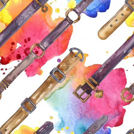 Photo for Leather belt sketch fashion glamour illustration in a watercolor style. Clothes accessories set. Watercolour drawing fashion aquarelle. Seamless background pattern. Fabric wallpaper print texture. - Royalty Free Image