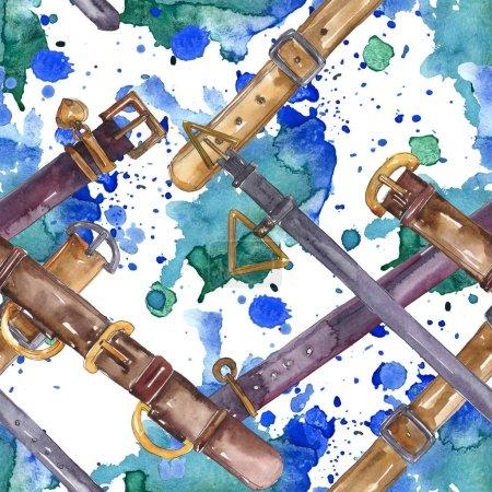 Photo pour Illustration glamour de modèle de croquis de ceinture en cuir dans un modèle d'aquarelle. Ensemble d'accessoires pour vêtements. Aquarelle de dessin à l'aquarelle. Modèle de fond sans couture. Texture d'impression de papier peint de tissu. - image libre de droit