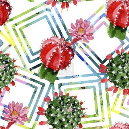 Photo pour Ensemble rouge et vert d'illustration d'aquarelle de cactus. Modèle de fond sans couture. - image libre de droit