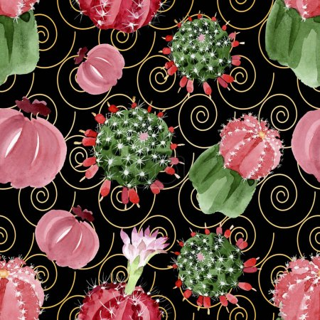 Red and green cacti watercolor illustration set. Seamless background pattern.