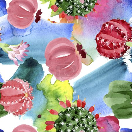 Photo for Red and green cacti watercolor illustration set. Seamless background pattern. - Royalty Free Image