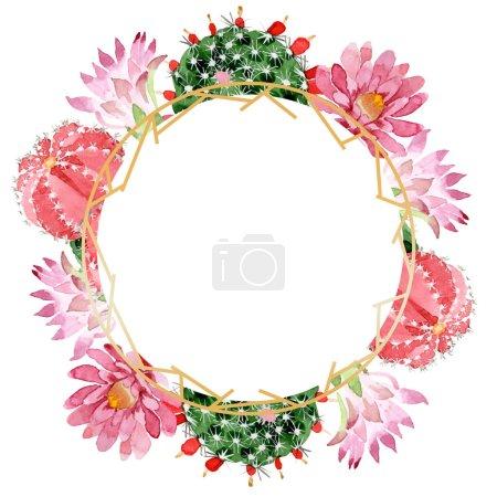 Foto de Cactus rojos y verdes aislados en marco de ilustración de acuarela blanca con espacio de copia - Imagen libre de derechos