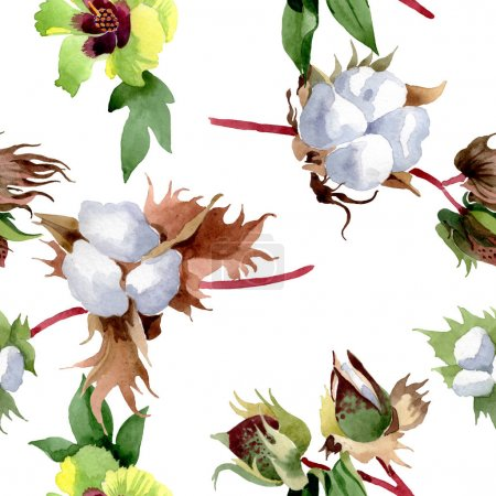 Photo for Cotton floral botanical flowers. Wild spring leaf wildflower. Watercolor illustration set. Watercolour drawing fashion aquarelle. Seamless background pattern. Fabric wallpaper print texture. - Royalty Free Image