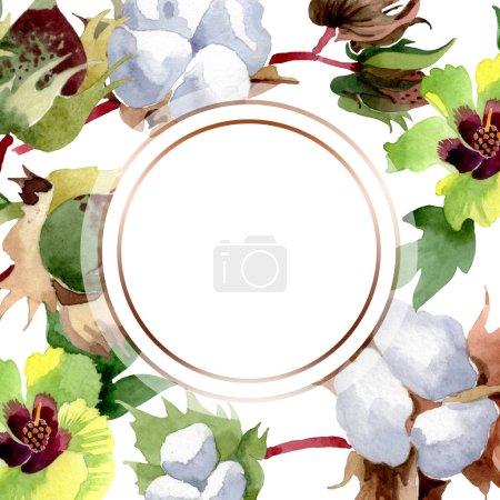 Photo pour Fleurs botaniques florales de coton. Fleur sauvage de neige sauvage de feuille de source d'isolement. Ensemble d'illustration de fond d'aquarelle. Aquarelle de mode de dessin d'aquarelle d'aquarelle d'aquarelle. Carré d'ornement de bordure de cadre. - image libre de droit