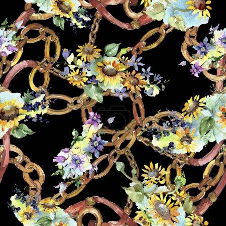 Photo pour Bouquet de fleurs botaniques de tournesol. Feuille de printemps sauvage fleur sauvage. Ensemble d'illustration aquarelle. Aquarelle dessin mode aquarelle. Modèle de fond sans couture. Texture d'impression papier peint tissu . - image libre de droit