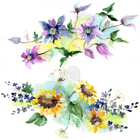 Photo pour Bouquet avec des fleurs botaniques florales de tournesols. Fleur sauvage sauvage de feuille de source. Ensemble d'illustration de fond d'aquarelle. Aquarelle de dessin à l'aquarelle. Élément d'illustration de bouquets d'isolement. - image libre de droit