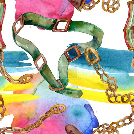 Chain and leather belt sketch fashion glamour illustration in a watercolor style. Watercolour drawing fashion aquarelle.