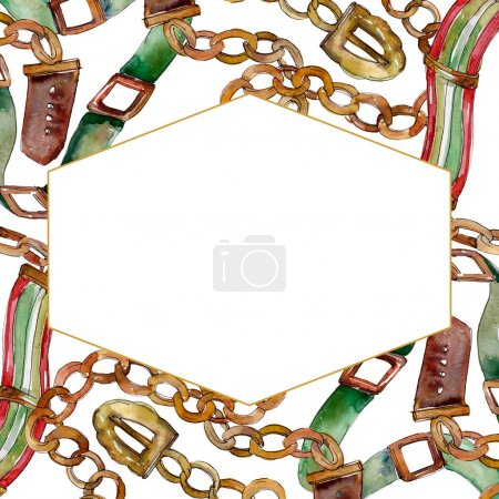 Photo for Chain and leather belt sketch fashion glamour illustration in a watercolor style. Watercolour drawing fashion aquarelle. - Royalty Free Image