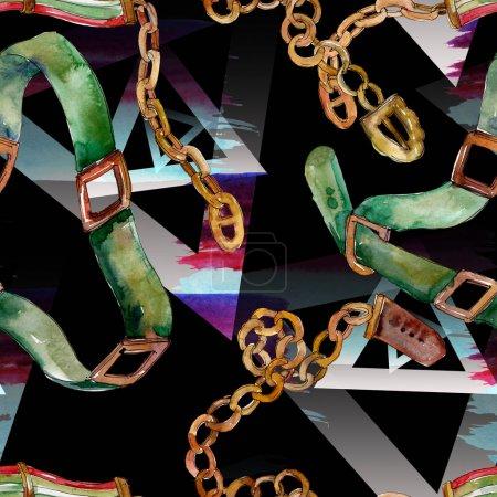 Photo pour Illustration glamour de croquis de ceinture de chaîne et en cuir dans un modèle d'aquarelle. Aquarelle de mode de dessin d'aquarelle d'aquarelle d'aquarel. - image libre de droit