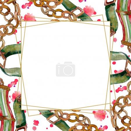 Foto de Cadena y cinturón de cuero boceto moda glamour ilustración en un estilo de acuarela. Acuarela dibujo moda aquarelle. - Imagen libre de derechos