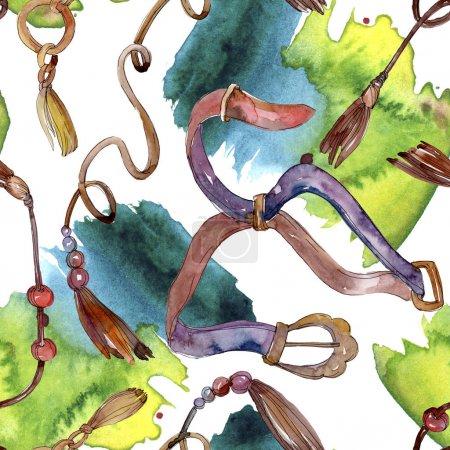 Photo pour Ceintures croquis mode illustration glamour. Vêtements accessoires ensemble tenue à la mode. Ensemble d'illustration de fond aquarelle. Aquarelle dessin mode aquarelle. Elément Ceintures isolées . - image libre de droit
