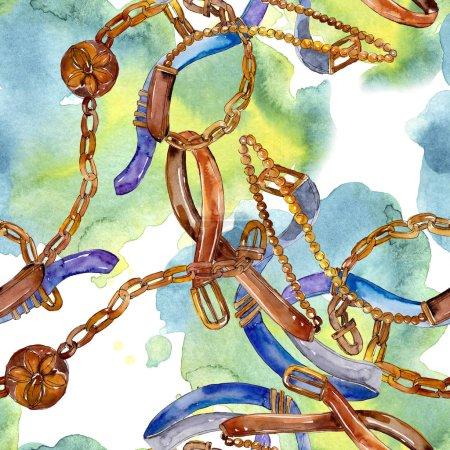 Photo pour Illustration de glamour de mode de ceinture et de chaîne. Ensemble d'aquarelle d'accessoires. - image libre de droit