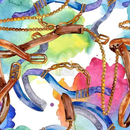 Photo for Belt and chain fashion glamour illustration. Accessories watercolor set. - Royalty Free Image