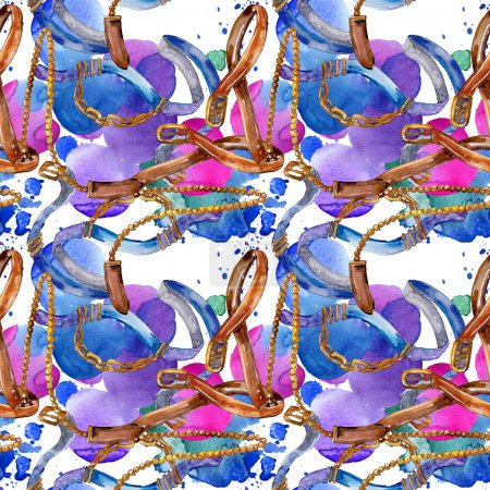 Photo pour Belt and chain fashion glamour illustration. Accessories watercolor set. - image libre de droit