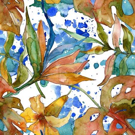 Photo pour Été tropical hawaïen exotique. L'arbre de plage de palmier laisse la fleur de jungle. Ensemble d'illustration d'aquarelle. Aquarelle de dessin à l'aquarelle. Modèle de fond sans couture. Texture d'impression de papier peint de tissu. - image libre de droit