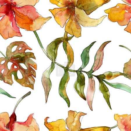 Photo for Exotic tropical hawaiian summer. Palm beach tree leaves jungle flower. Watercolor illustration set. Watercolour drawing fashion aquarelle. Seamless background pattern. Fabric wallpaper print texture. - Royalty Free Image