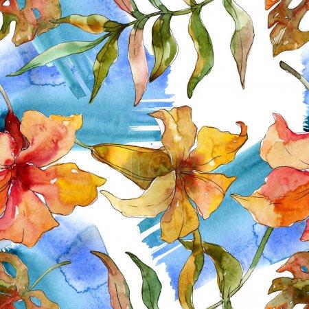Foto de Exótico verano hawaiano tropical. Palmera árbol deja flor de la selva. Conjunto de ilustraciones de acuarela. Acuarela dibujando moda acuarela. Patrón de fondo sin costuras. Textura de impresión de fondo de pantalla de tela. - Imagen libre de derechos