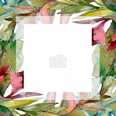 exotischer tropischer hawaiianischer Sommer. Palme Strand Blätter Dschungel botanischen. Aquarell Hintergrundillustration Set. Aquarellzeichnung Modeaquarell isoliert. Rahmen Rand Ornament Quadrat.