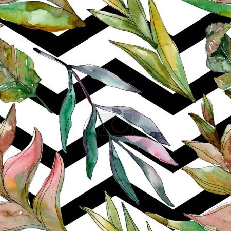Photo pour Été tropical hawaïen exotique. L'arbre de plage de palmier laisse la jungle botanique. Ensemble d'illustration d'aquarelle. Aquarelle à dessin à l'aquarelle. Modèle de fond sans couture. Texture d'impression de papier peint de tissu. - image libre de droit